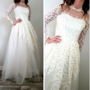 Vintage 50s Princess Lace Wedding Gown Dress Small